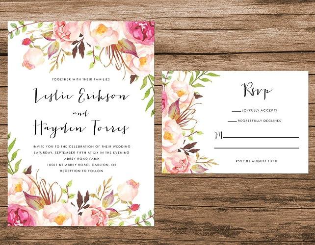 Floral Wedding Invitations.Amazon Com Watercolor Floral Wedding Invitation Peach Flowers