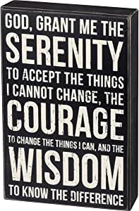 Primitives by Kathy Classic Black and White Box Sign, 8 x 12-Inches, Serenity Prayer