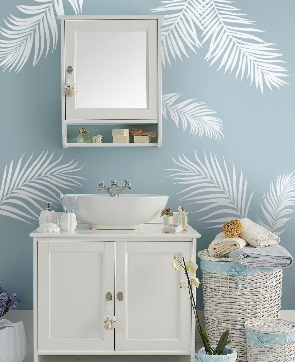 White /& Grey Thick Textured Tropical Leaves Leaf Wallpaper Kitchen Bathroom