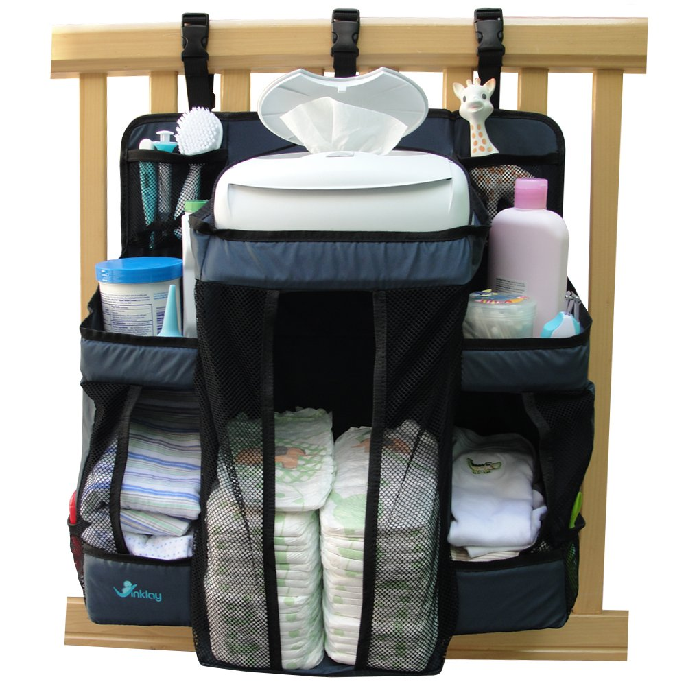 Baby Nursery Organizer & Diaper Caddy, VINKLAY Crib Changing Table Hanging Storage with 6 Shelves & 4 Pockets for All Baby Essentials, Toys & Lotions, Perfect Baby Shower Gift, Dark Blue by Vinklay