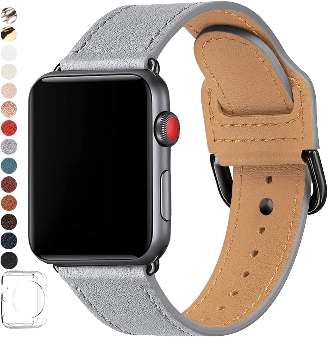 POWER PRIMACY Bands Compatible with Apple Watch Band 38mm 40mm 42mm 44mm, Top Grain Leather Smart Watch Strap Compatible for Men Women iWatch Series 5 4 3 2 1(Light Gray/Black,38mm/40mm)