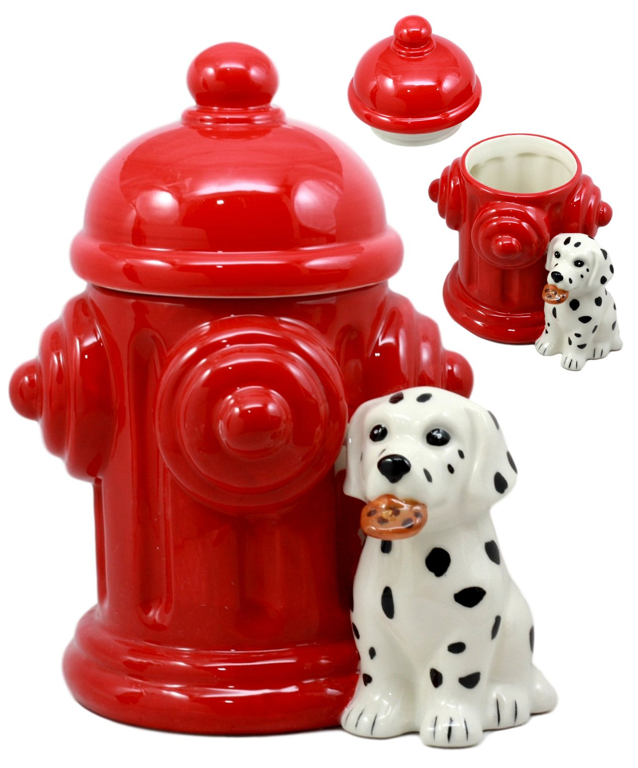 Ebros Ceramic Firehouse Dalmatian Puppy With Fire Hydrant Cookie Jar Decorative Kitchen Accessory Figurine