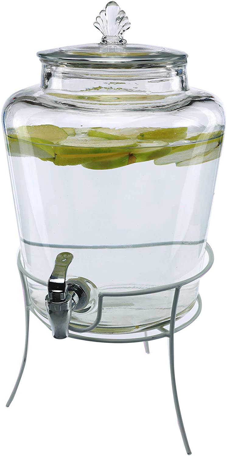 Circleware Market Lane Glass Beverage Dispenser with Metal Stand and Lid, Entertainment Kitchen Glassware Drink Pitcher for Water, Juice, Wine, Kombucha & Cold Drinks, Huge 2.1 Gallon, Clear