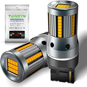 TUINCYN 7440 W21W T20 LED Bulb CANBUS Free Amber Yellow Turn Signals Light Built-in High Decoding Rate Load Resistor 54pcs LED Cree Chip Anti Hyper Flash Error Code Blinkers Replacement(Pack of 2)