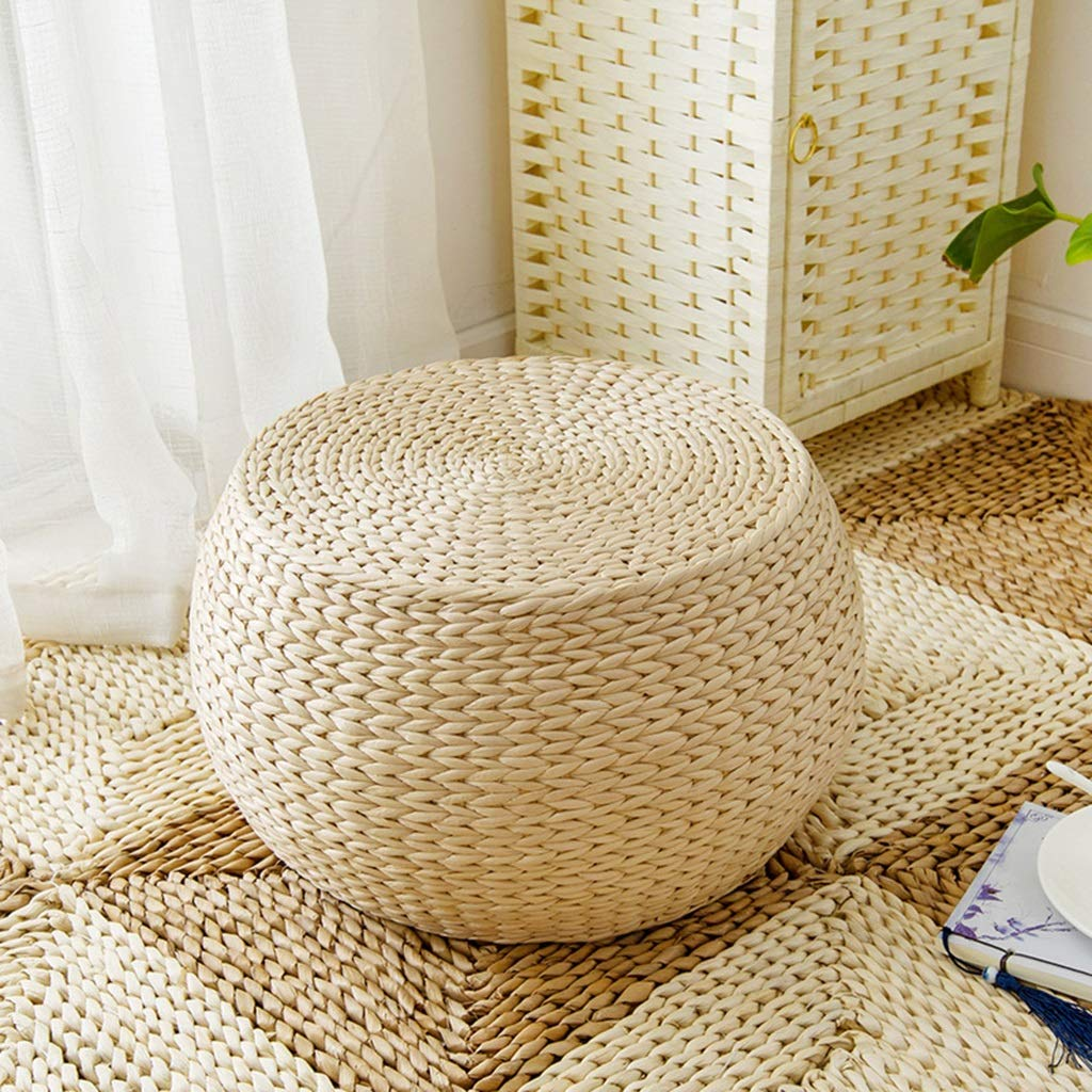 RXY-Wicker chair Japanese Round Rattan Stool Comfortable and Environmentally Friendly Home Living Room Change Shoes Stool Tatami Cushion (Size : 40cm)