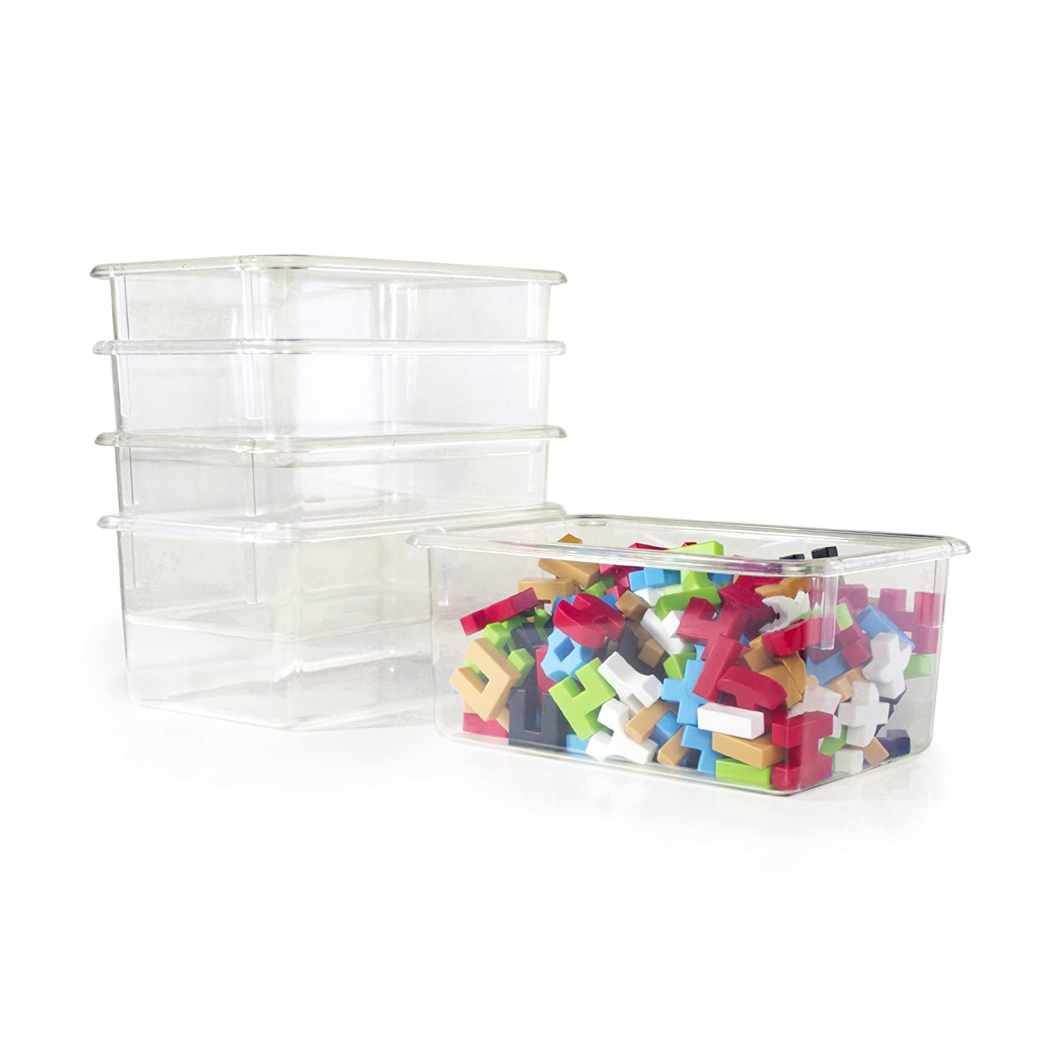 Guidecraft Clear Classroom Storage Bins for Toys, Supplies – Set of 5 Supplies – Set of 5
