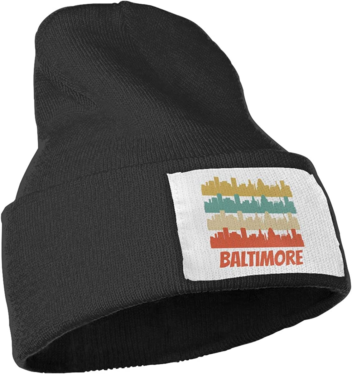 JZMY6 Retro Baltimore MD Skyline Solid Color Beanie Hat Womens Beanie