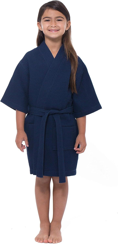 Turquaz Linen Kids Spa Party Flower Girl Waffle Kimono Robe