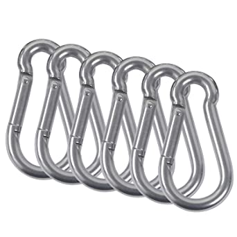 304 Stainless Steel Carabiner Clip Heavy Duty Snap Hook Carabiner Snap Hook Clips Spring Snap Clip Keychain Locking Carabiner for Outdoor,Camping Hiking,Traveling,Fishing 2Pcs M8 Carabiner Hook