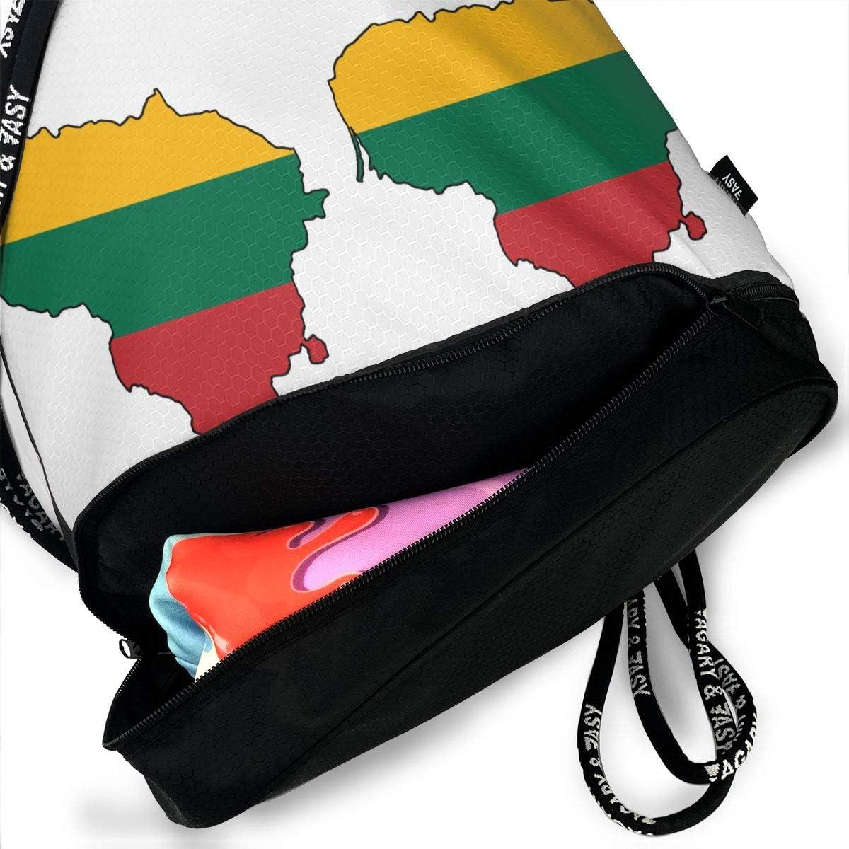 Drawstring Backpack Lithuanian Flag Map Shoulder Bags