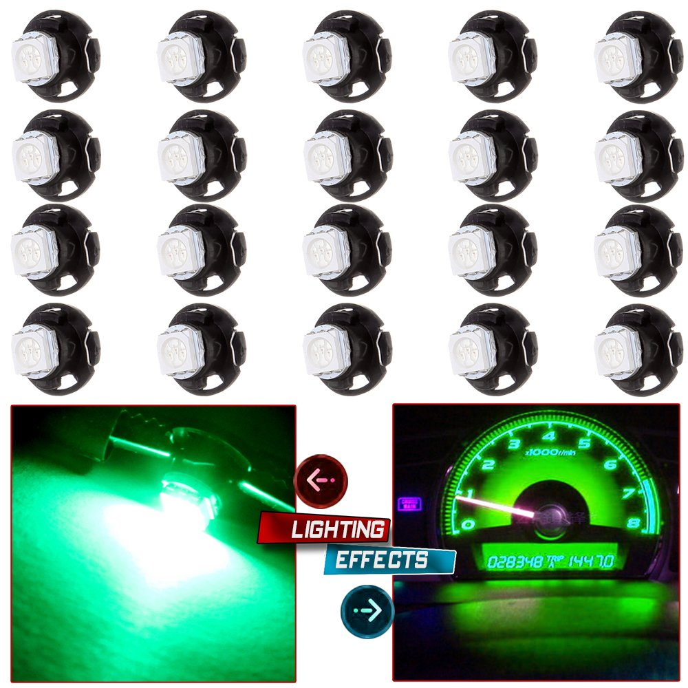 cciyu 20 pack Super Green 5050 SMD T5 Neo Wedge LED Light Climate Heater Control Lamp Bulbs Shifter light & Radio/Switch Lights Replacement fit for 2006-2009 Mitsubishi Raider 12-14V DC