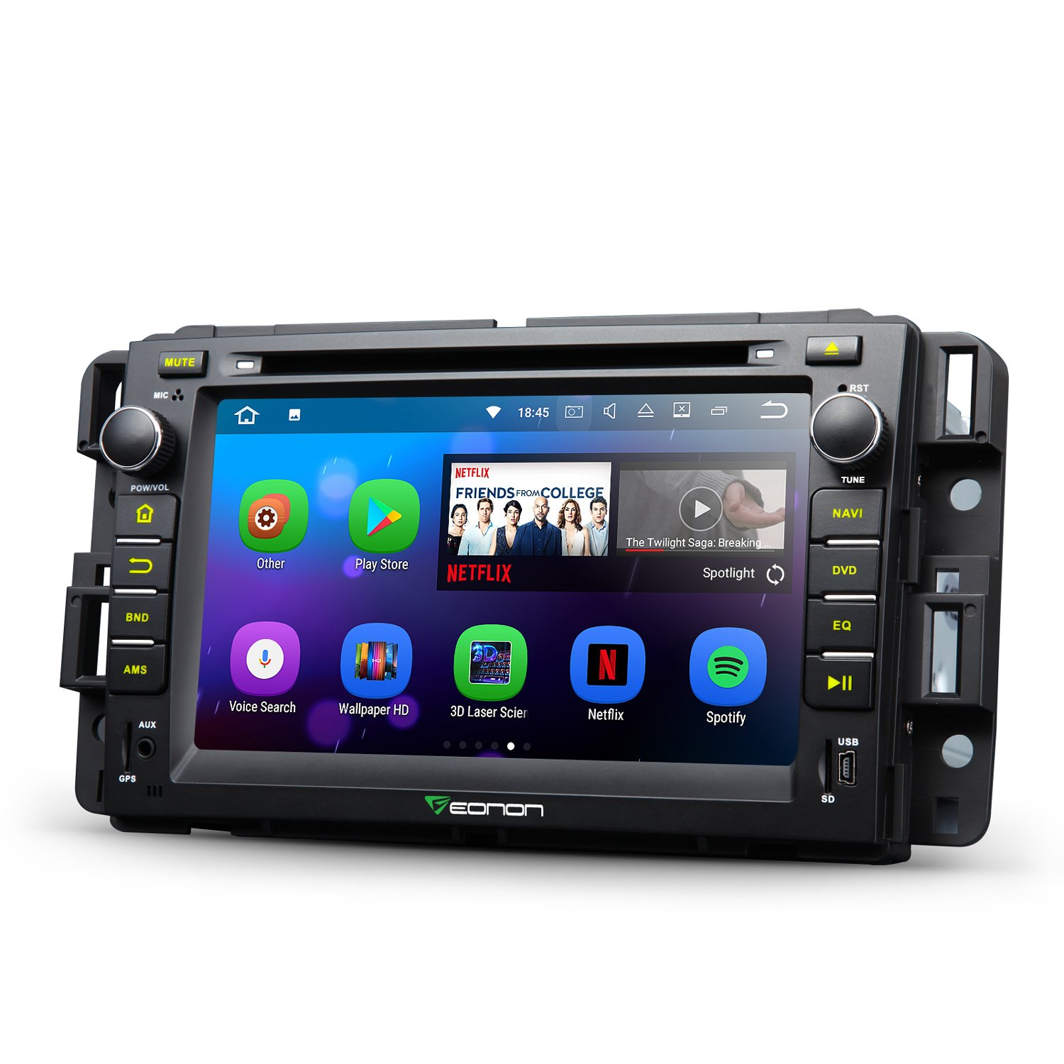 Eonon GA8180 Android 7.1 Nougat 7 Inch Car Stereo In Dash Touch Screen Radio Audio GPS Navigation for Chevrolet GMC Silverado Express Avalanche Acadia Impal 2GB RAM with DVD Player Bluetooth Head Unit