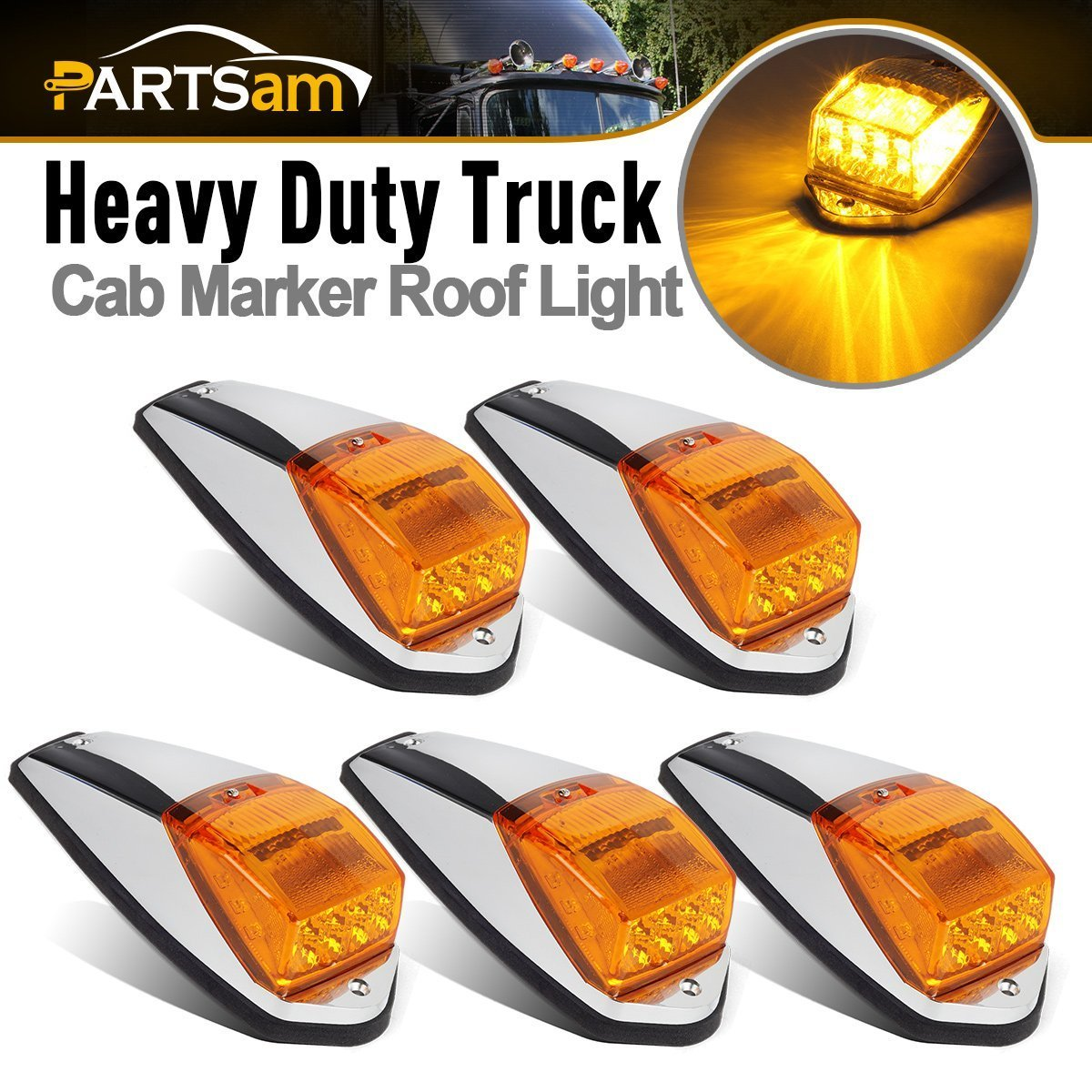 Partsam 5PCS Truck Cab Marker Light 17 LED Amber Top Clearance Roof Running Lights w/Chrome Base Truck Trailer Light Replacement for Peterbilt Kenworth Freightliner Volvo Mack Autocar Hayes