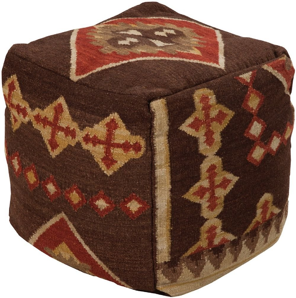 Surya Southwestern/Lodge Square pouf/ottoman 18''x18''x18'' in Brown Color From Surya Poufs Collection