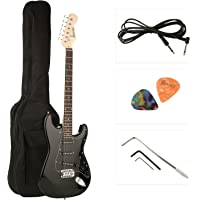Juarez JRZ-ST01 6-String Electric Guitar, Right Handed, Full Black, with Case/Bag and Picks