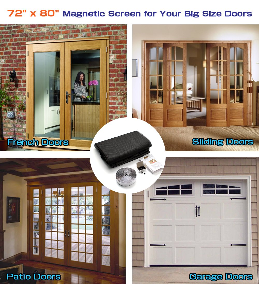 72x 80 Hands Free Magnetic Screen Door For French Doorssliding