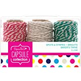 Papermania 20 m 3-Piece Capsule Collection Spots and Stripes Brights Bakers Twine, Multi-Colour