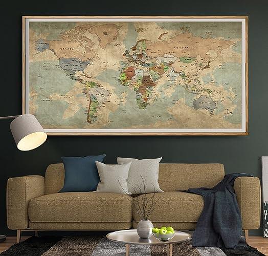Amazon.com: Antique World Map Push Pin Wall Art, Vintage Travel Map ...