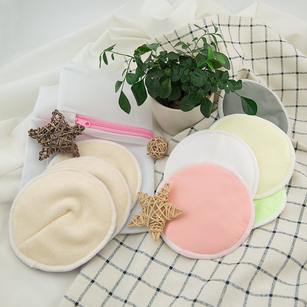 ALVABABY Bamboo Nursing Pads, 16 Pcs Breastfeeding Pads, Reusable & Washable & Soft & Absorbent & Leak-Proof, with One Cloth Wet Bag and One Laundry Bag(16RDB) by ALVA (Image #5)