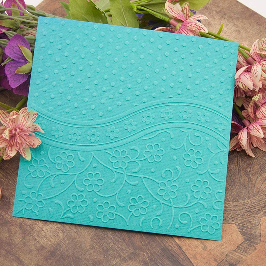 BUZHI Crafts Giddiness Plastic Embossing Folders for Card Making Scrapbooking and Other Paper Crafts,5.91x5.91in