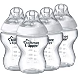 Tommee Tippee Closer to Nature Baby Bottle, Anti-Colic, Breast-like Nipple, BPA-Free - Slow Flow, 9 Ounce (4 Count…