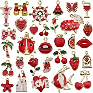 Tangser 31 Pcs Assorted Red Plated Enamel Pendants Necklace Bracelet Charms, Animal Fruit Charm Pendant DIY for Necklace Bracelet Jewelry Making and Crafting