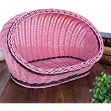 HUAHOO Pet Rattan Bed Four Seasons Comfortable Cat Dog House Washable Covered Modern Dog Cat Hedeaway Hut of Rarran…