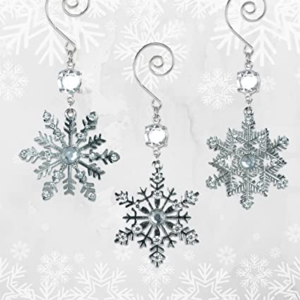 snowflake christmas ornaments silver metal snowflakes with clear crystals set of 3 assorted snowflake - Snowflake Christmas Decorations