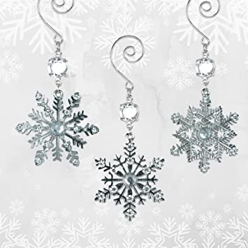Snowflake Christmas Ornaments   Silver Metal Snowflakes With Clear Crystals    Set Of 3 Assorted Snowflake
