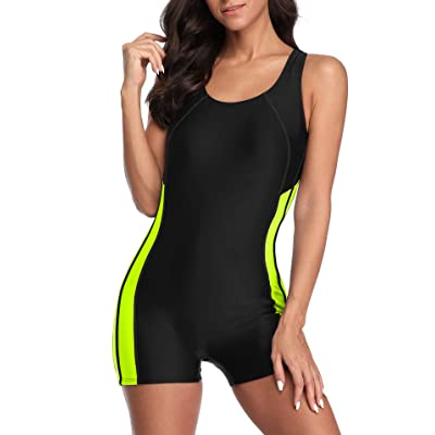 beautyin Women's Boyleg One Piece Swimsuit Racerback Unitard Swimming Suits: Clothing