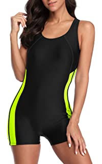 Adoretex Womens One Piece Printed Boyleg Unitard Swimsuit