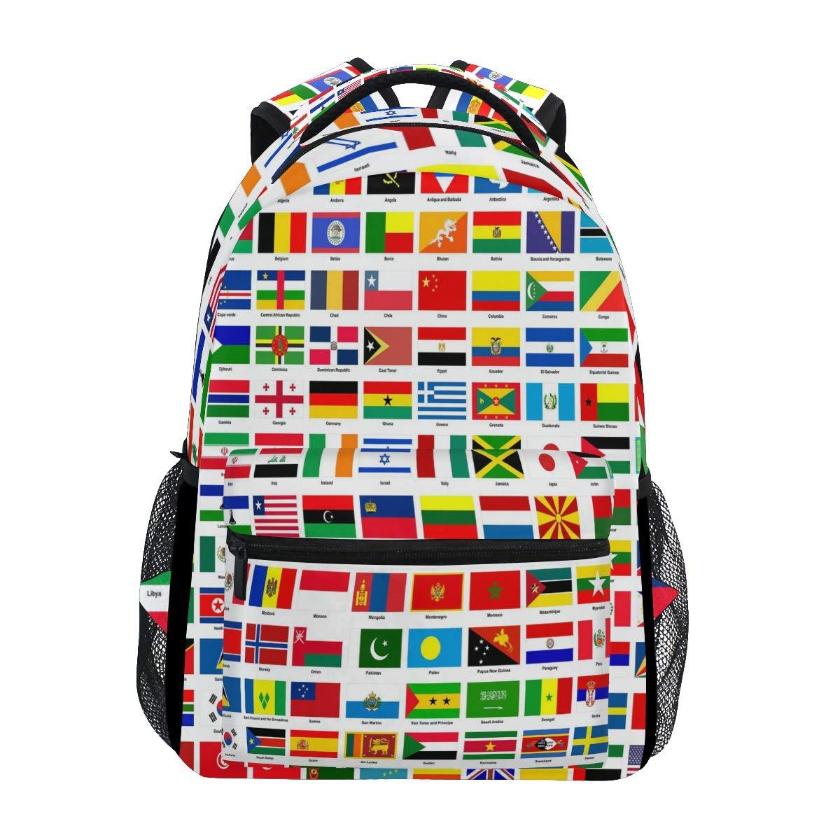 WXLIFE Education World Country Flag Backpack Travel School Shoulder Bag for Kids Boys Girls Women Men