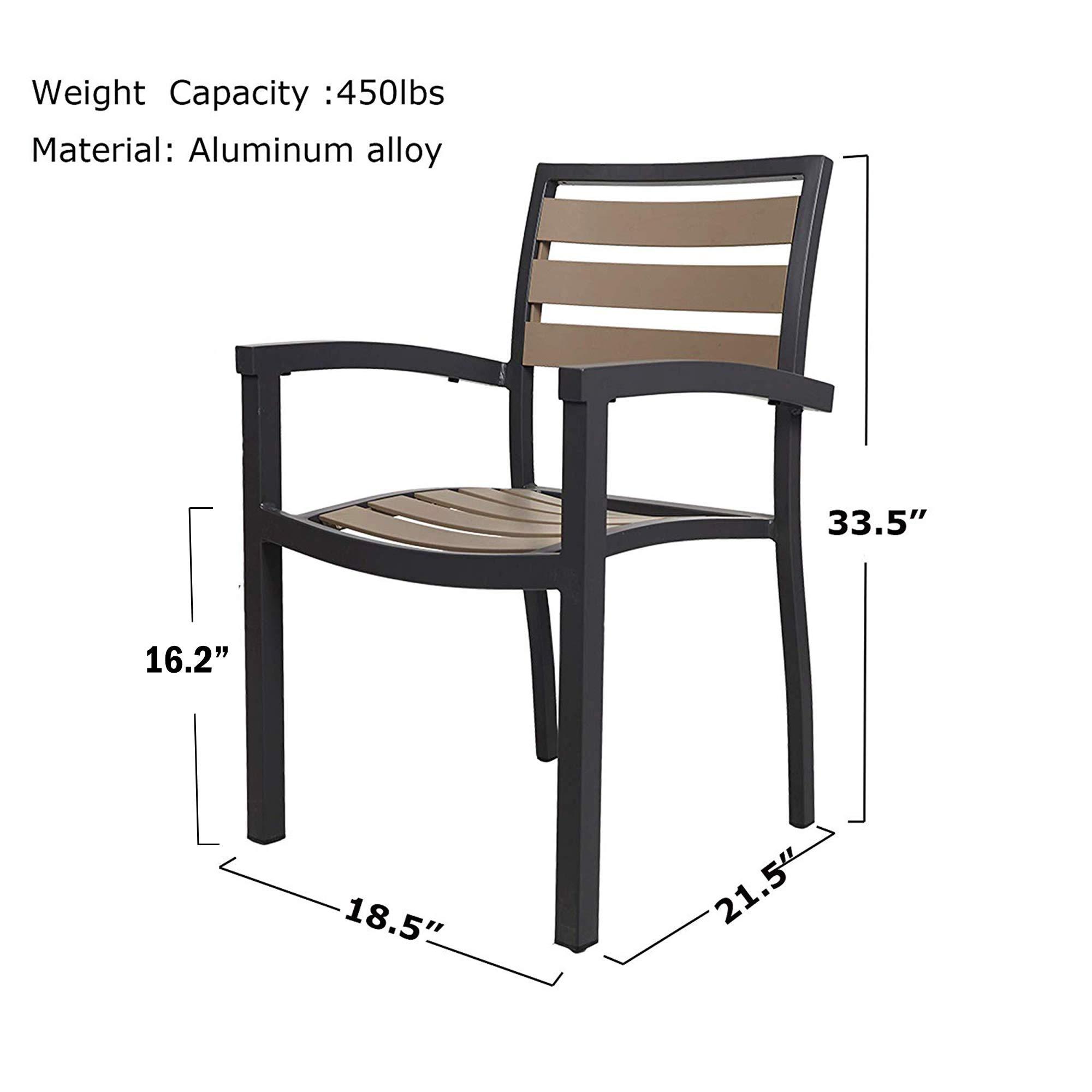 LUCKYERMORE 10PK Patio Chairs Outdoor Dining Chair Stackable Armchair  Aluminum Alloy Lightweight & Heavy Duty for Commercial Restaurant Use