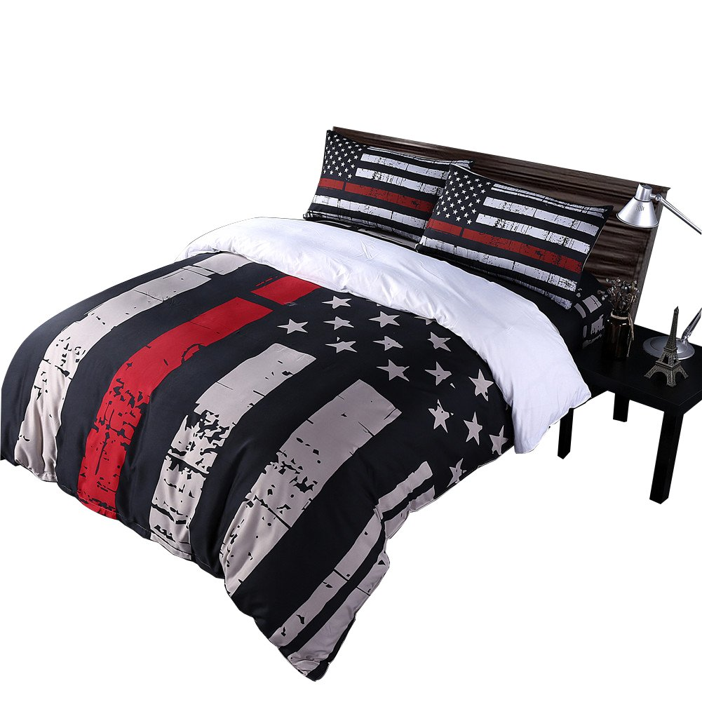 Rhap Duvet Cover King Size, American Flag Quilt Cover King Size Set, 3pcs Bedspreads King Size Set, Red Black Valor Patriot Theme Digital Printed Duvet Cover Matching 2 Pillowcases