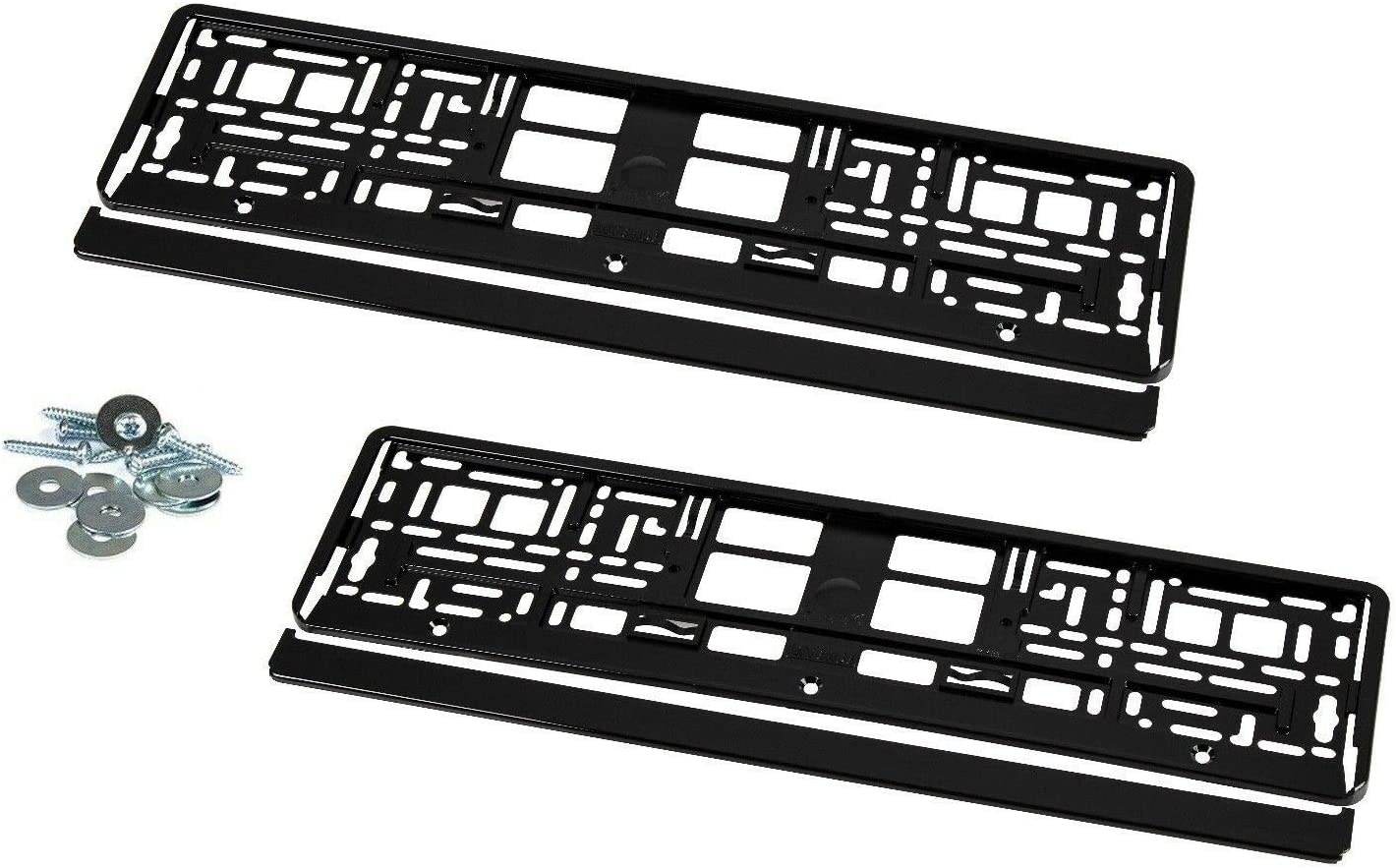 Piano support de plaque d/'immatriculation noir brillant Chrome
