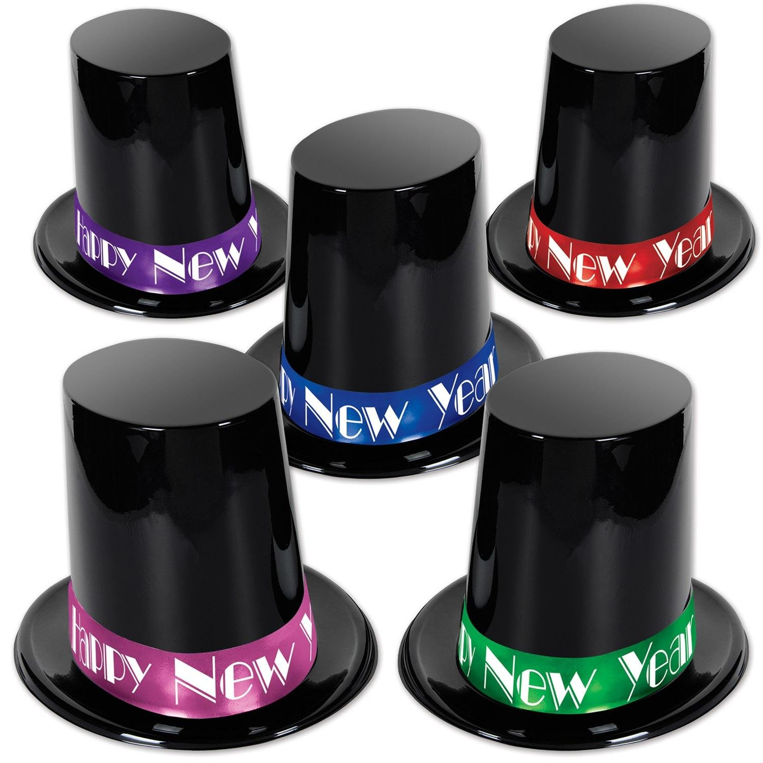 Party Central Club Pack of 25 Big Black Happy New Year Top Hat with Assorted Color Band 7.5'' by Party Central
