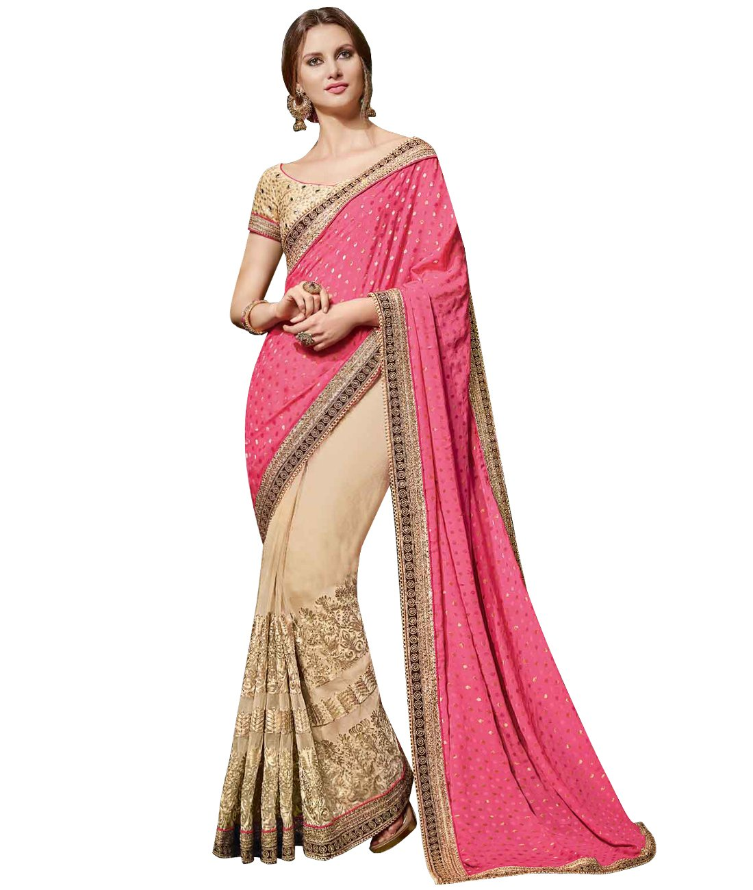 Indian Ethnic Georgette Silk Pink And Beige Half And Half Saree