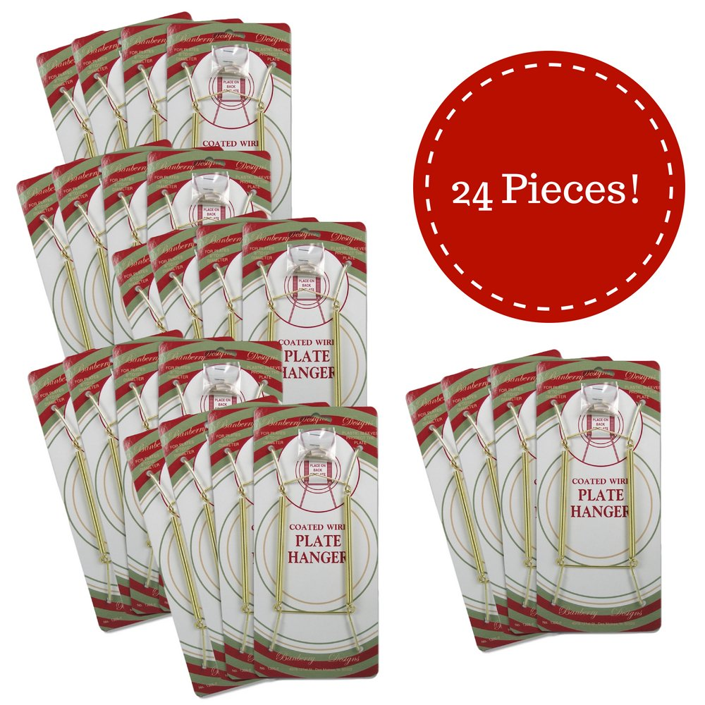 Banberry Designs Brass Vinyl Coated Plate Hanger 8 to 10 Inch - Clear Vinyl Sleeves Protect the Plate - Hook and Nail Included - Set of 24 by BANBERRY DESIGNS