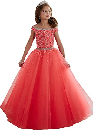 bde84d03a734 Amazon.com: Monkidoll Beading Crystal Little Girl Pageant Dresses Coral  Kids Evening Gowns: Clothing