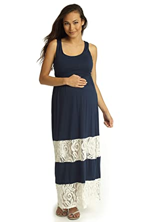24f3ae65a31df PinkBlush Maternity Navy Blue Lace Colorblock Maternity Maxi Dress, Small