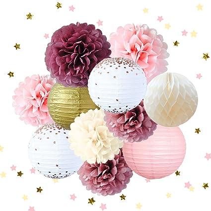 Nicrolandee Dusty Rose Blush Pink Tissue Pom Poms Gold Foil Dots Paper Lanterns Glitter