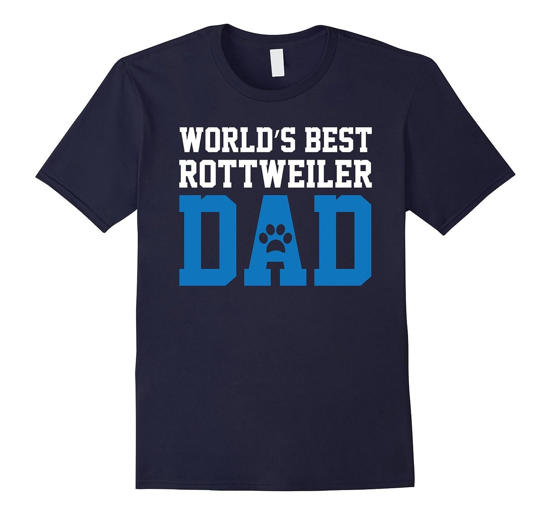 World's Best Rottweiler Dad Dog Owner Lover Paw Pet Blue Tee-CL