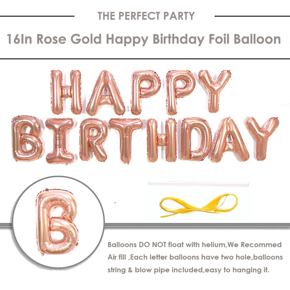 Amazon Rose Gold Balloons Decorations Set Happy Birthday Banner 12 Balloon And Star Heart Foil With String For Party Supplies