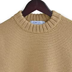 Kerry Woollen Mills Pearl Stitch Crew Neck Sweater KW018-004: Camel