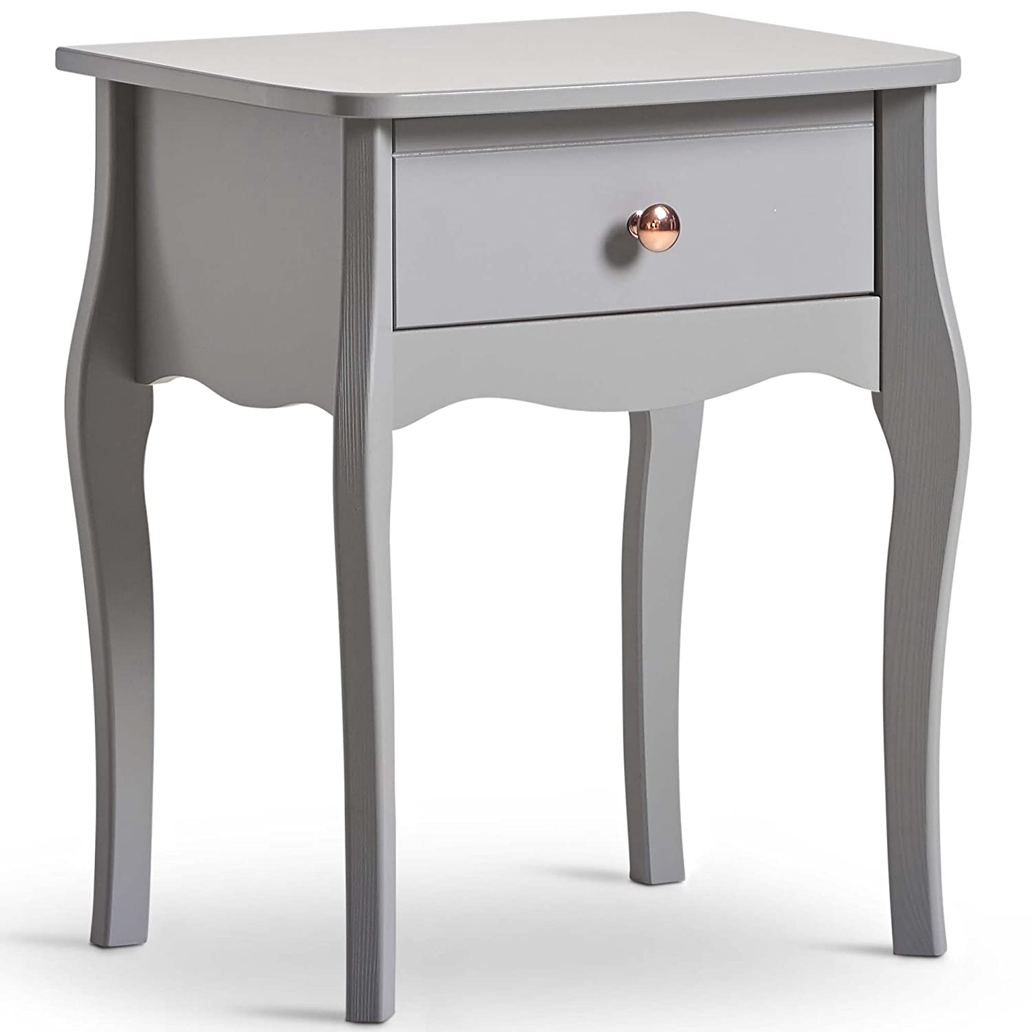 Beautify Grey 1 Drawer Bedside Table – Vintage Style with Rose Gold Handles – 1 Drawer Bedroom Storage Unit DOMU Brands