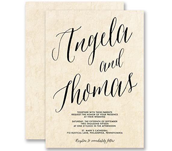Amazon Com Calligraphy Wedding Invitations Parchment Modern Vintage