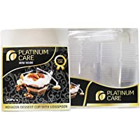 Platinum Care Hexagonal Shape Dessert Cup with Lid and Spoon - Clear, 20 Pieces