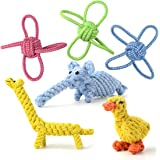 Whoobee Dog Rope Toys, ❤️Puppy Chew Toys for Playtime and Teeth Cleaning, ❤️Durable Cotton Tug of War Balls Interactive Animal Design Toys for Medium To Large Dogs(set of 6)