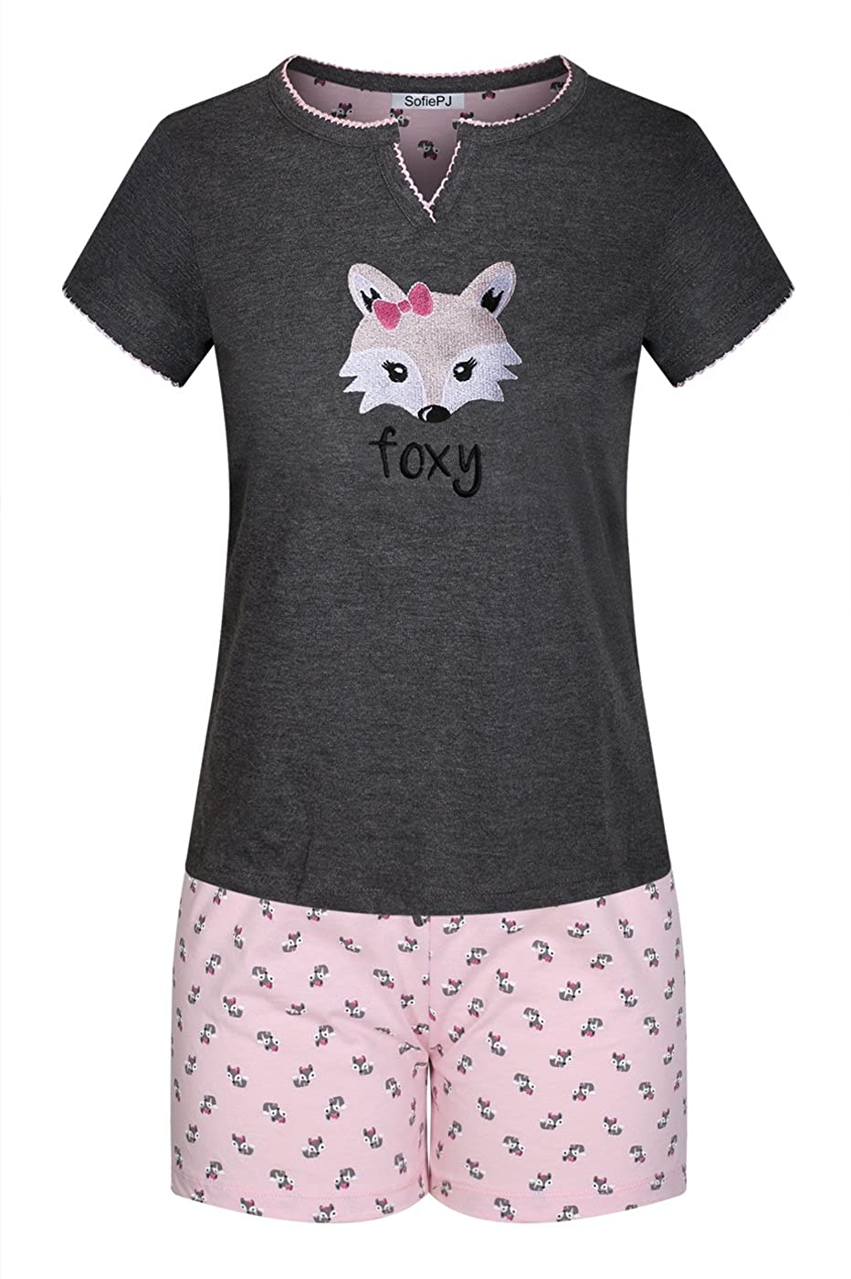 Charcoal Foxy SofiePJ Women's Printed Cotton Short Sleeve Pajama Set with Short Pants