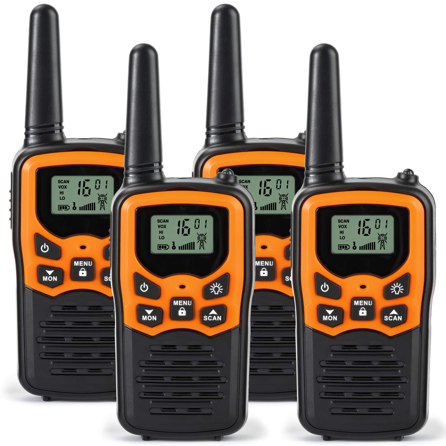 Rivins RV-7 Walkie Talkies for Adults Long Range 4 Pack 2-Way Radios Up to 5 Miles Range in Open Field 22 Channel FRS/GMRS Walkie Talkies UHF Handheld Walky Talky (Black/Orange) by Rivins
